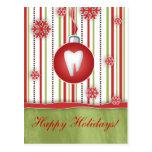 Rayas dentales del rojo de la postal del navidad
