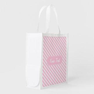 rayas diagonales adaptables del rosa del flor bolsas reutilizables