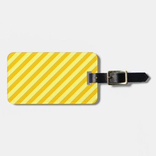 Rayas diagonales - amarillo y amarillo de la manda etiquetas maleta