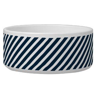 Rayas diagonales azules blancas y de medianoche tazones para perrros