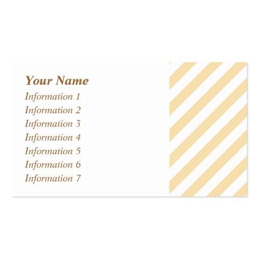 Rayas diagonales beige y blancas tarjetas de visita