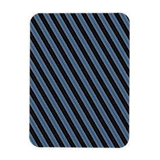 Rayas diagonales blancas del negro azul de las imán foto rectangular