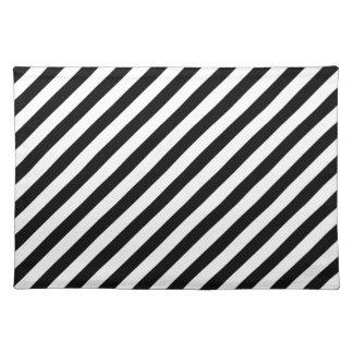 Rayas diagonales blancos y negros - Placemat Mantel Individual