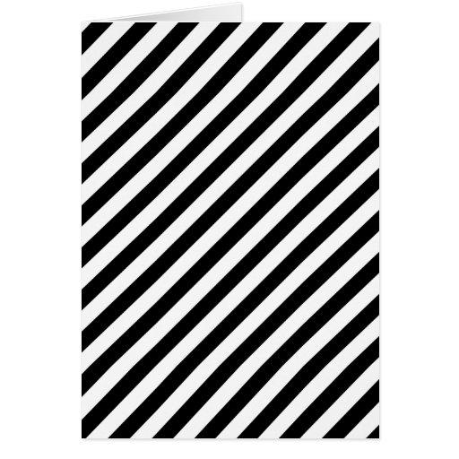 Rayas diagonales blancos y negros tarjeta