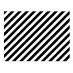 Rayas diagonales blancos y negros tarjeta postal