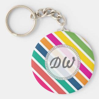 Rayas diagonales coloridas del caramelo - texto de llavero personalizado