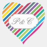 Rayas diagonales coloridas del caramelo - texto de pegatina en forma de corazón