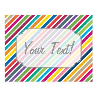 Rayas diagonales coloridas del caramelo - texto de tarjetas postales