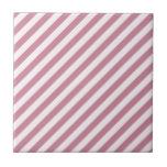 Rayas diagonales - cordón rosado y Puce Azulejos Ceramicos