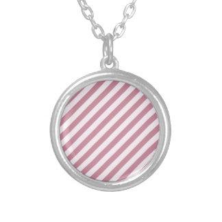 Rayas diagonales - cordón rosado y Puce Colgante
