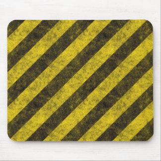 Rayas diagonales del peligro de la construcción mouse pad