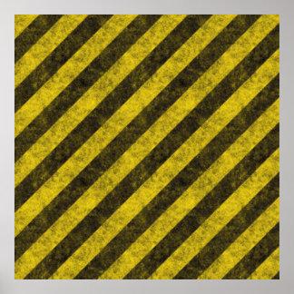 Rayas diagonales del peligro de la construcción póster