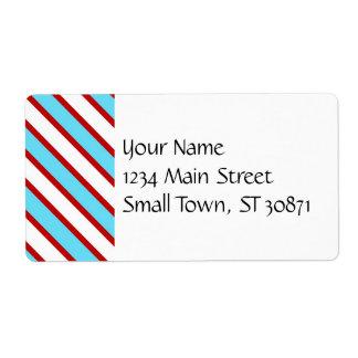 Rayas diagonales del rojo de azules turquesas de etiqueta de envío