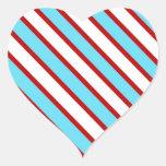 Rayas diagonales del rojo de azules turquesas de pegatina de corazón personalizadas