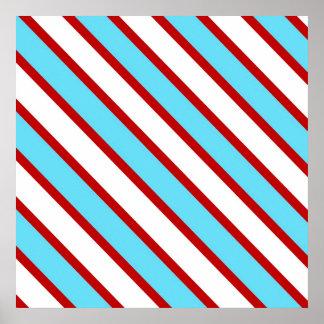 Rayas diagonales del rojo de azules turquesas de póster