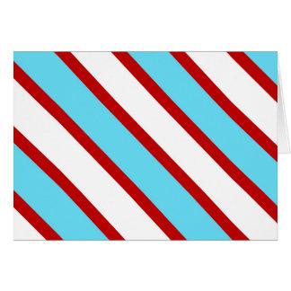 Rayas diagonales del rojo de azules turquesas de tarjeta pequeña
