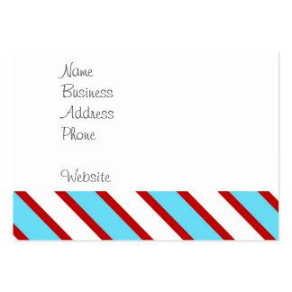 Rayas diagonales del rojo de azules turquesas de tarjetas de visita grandes