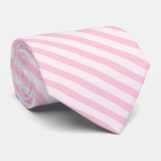 Rayas diagonales del rosa del flor corbata personalizada