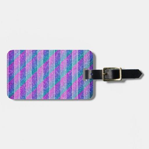 Rayas diagonales femeninas etiqueta de equipaje