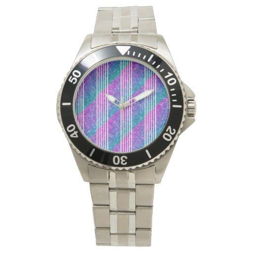 Rayas diagonales femeninas relojes de pulsera