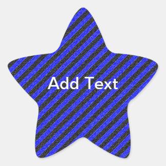 Rayas diagonales negras y azules finas calcomanias forma de estrella