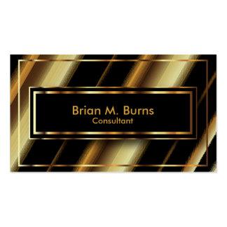 Rayas diagonales negras y líneas metálicas del oro tarjetas de visita