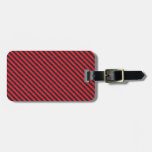 Rayas diagonales negras y rojas finas etiqueta para equipaje