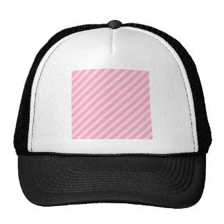 Rayas diagonales - palidezca - rosa y rosa del cla gorro
