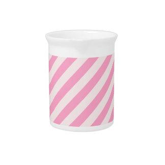 Rayas diagonales - palidezca - rosa y rosa del cla jarra