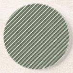 Rayas diagonales retras verdes posavaso para bebida