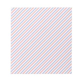 Rayas diagonales rojas, blancas, y azules libretas para notas