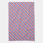 Rayas diagonales rojas, blancas, y azules toallas de mano