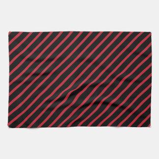 Rayas diagonales rojas y negras toallas de mano