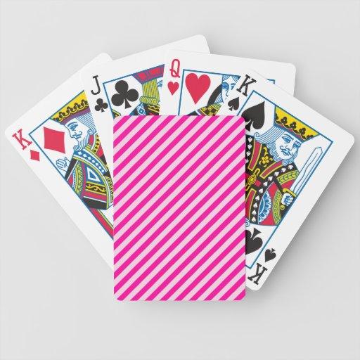 Rayas diagonales rosadas baraja de cartas