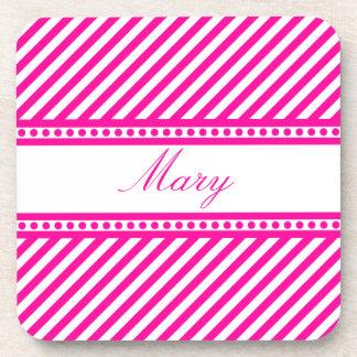 Rayas diagonales rosadas posavasos de bebidas