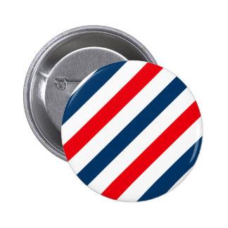Rayas diagonales tricoloras (azul, blanco, y rojo) pin redondo de 2 pulgadas