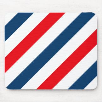 Rayas diagonales tricoloras (azul, blanco, y rojo) tapete de ratones