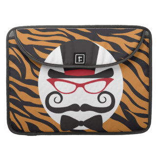 Rayas divertidas del bigote del sombrero de copa y fundas para macbooks