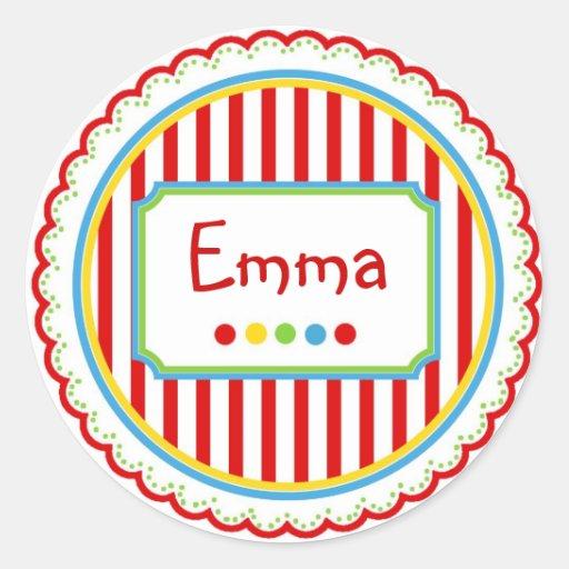 Rayas dulces del circo del caramelo pegatina redonda