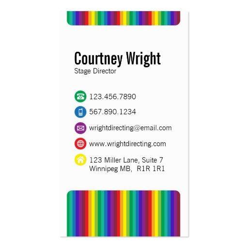 Rayas e iconos - multicolor tarjeta de visita