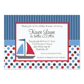 Rayas e invitación azules y rojas del velero de invitación 12,7 x 17,8 cm