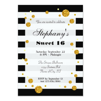 Rayas e invitación del dulce dieciséis del brillo