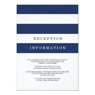 Rayas elegantes de la marina de guerra que casan invitación 11,4 x 15,8 cm