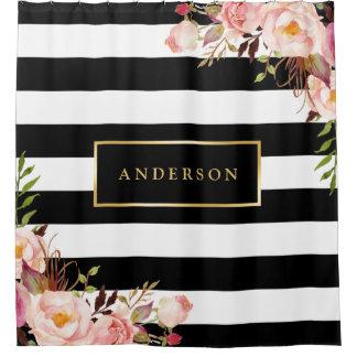 Rayas elegantes del abrigo del marco floral cortina de baño
