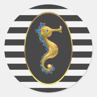 Rayas elegantes del blanco del negro del Seahorse Pegatina Redonda