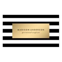 Rayas elegantes en tarjetas de visita del oro el  