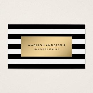 Rayas elegantes en tarjetas de visita del oro el |