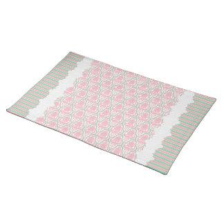 Rayas elegantes lamentables del damasco w del rosa mantel individual