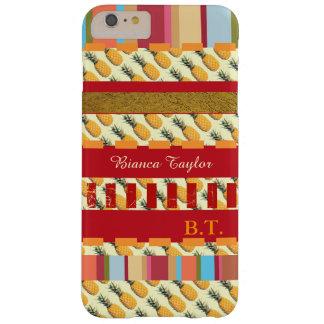 rayas elegantes y personalizadas con las piñas funda de iPhone 6 plus barely there
