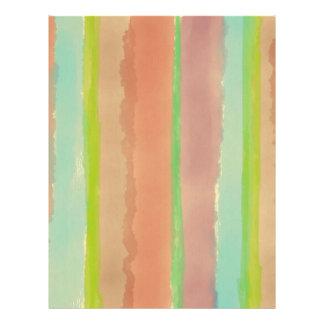 Rayas en colores pastel artsy de la acuarela membrete personalizado